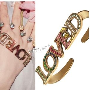 Gucci Crystal Rainbow LOVED Palm Cuff Ring